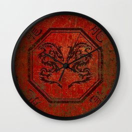 Dueling Dragons In An Octagon Frame With Chinese Dragon Characters Red Tint Distressed Wall Clock