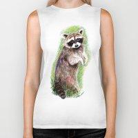 raccoon Biker Tanks featuring Raccoon by Anna Shell