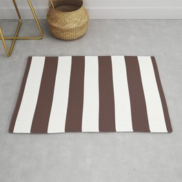 Dark Brown Granite and White Wide Vertical Cabana Tent Stripe Rug