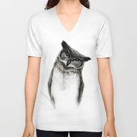 owls V-neck T-shirts featuring Owl Sketch by Isaiah K. Stephens