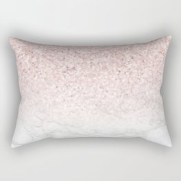 Pink Rose Gold Glitter and Marble Rectangular Pillow
