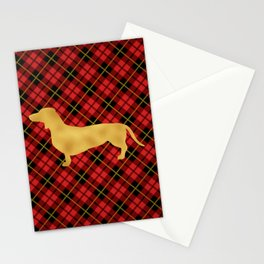 Red Plaid Dachshund Stationery Cards