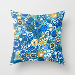 Lost Marbles - Blue Throw Pillow
