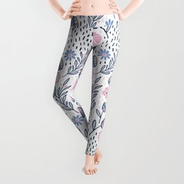Romantic floral pattern, pink and blue flowers on white Leggings