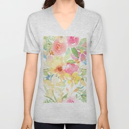 Colorful watercolors flowers pattern pink yellow and blue Unisex V-Neck