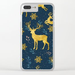Golden Reindeer Clear iPhone Case