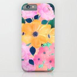 Cute Colorful Romantic Watercolor Flowers iPhone Case