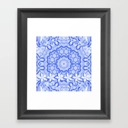 abstract blue mandala with flowers Framed Art Print