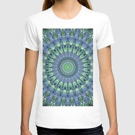 Mandala in light green and blue colors T-shirt