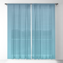 ATLANTIC BLUE color ombre pattern  Sheer Curtain
