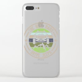 """Nice Riding Tee For Riders With A Retro Illustration Of A Truck """"The Best Dads Drive Jeeps"""" T-shirt Clear iPhone Case"""