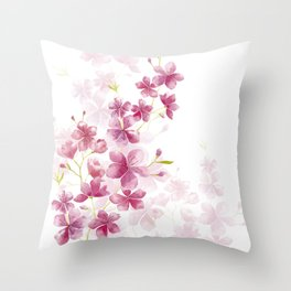 Spring Cherry Blossom Floral Watercolor Style Throw Pillow