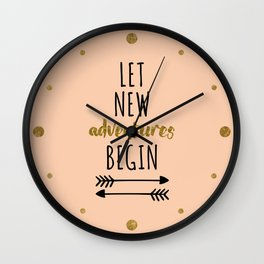 New Adventures Travel Quote Wall Clock