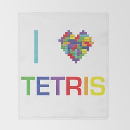 I heart Tetris Throw Blanket