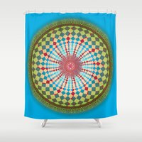 health Shower Curtains featuring Health Mandala - מנדלה בריאות by dotan yiloz