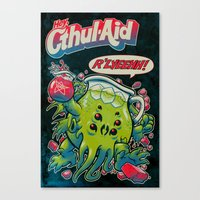 psychedelic Canvas Prints featuring CTHUL-AID by BeastWreck