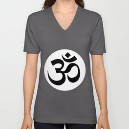 Om Ohm Aum Symbol Spiritual Yoga Tee Gift print Unisex V-Neck
