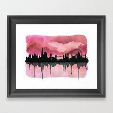 London Skyline 2 Pink Framed Art Print