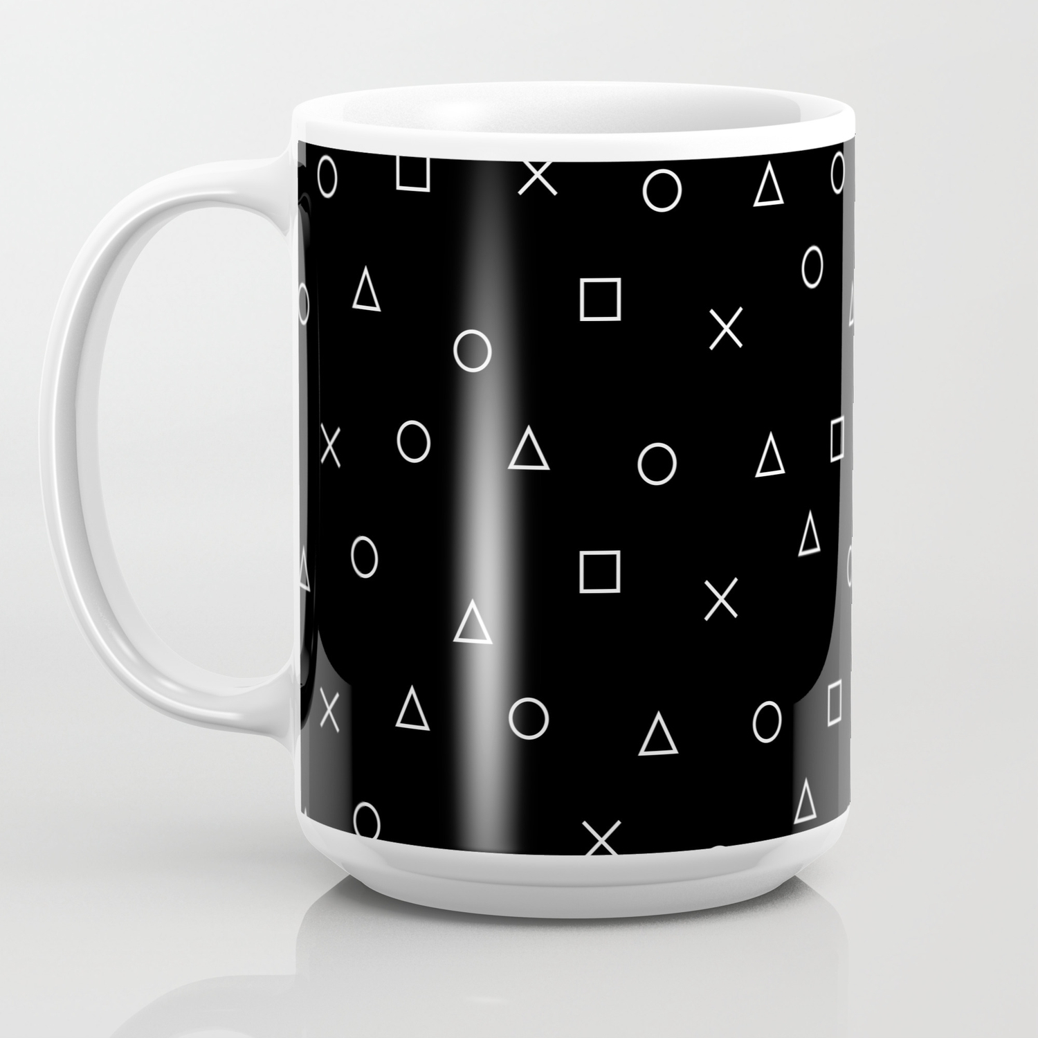 Design Symbols Gaming Coffee Mug Playstation Controller Pattern Gamer Black Lcq3AR54j