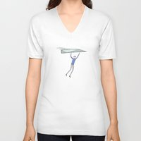 airplanes V-neck T-shirts featuring hang on to your paper airplane by Marc Johns