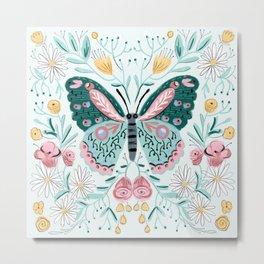 Butterfly - pink and mint, butterflies, roses, daisies, rose, daisy, butterflies Metal Print