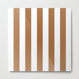 Metallic bronze - solid color - white vertical lines pattern Metal Print