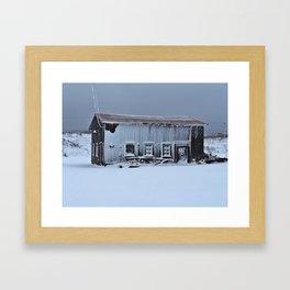 Snow Caked Barn Framed Art Print