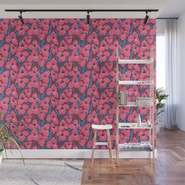 Puya Flowers, Floral Pattern, Pink Red Blue Wall Mural