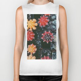 closeup cactus texture background in red yellow and green Biker Tank