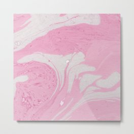Soft Pink Marble with Cream Swirls Metal Print