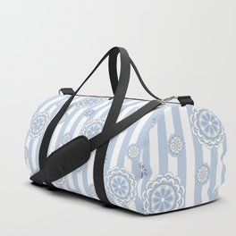 Mod Flowers on Stripes in Pastel Blue and Gray Duffle Bag