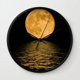 Yellow Moon at night Wall Clock