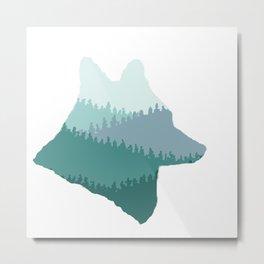 Wolf Mountains (Blue) Metal Print