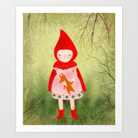 red riding hood Art Prints featuring Little red riding hood by munieca