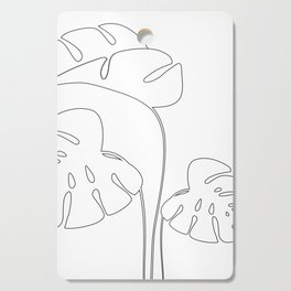 Monstera plant leafs line art Art black and white Cutting Board