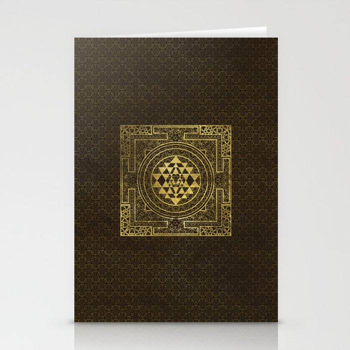 Gold Sri Yantra  / Sri Chakra Stationery Cards