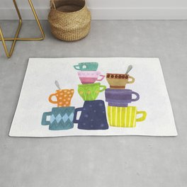 Coffee And Tea Cups And Mugs Stacked High Rug