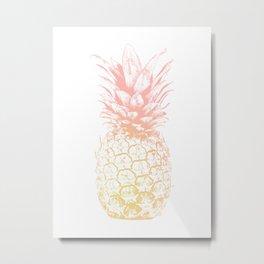 Pink and Yellow Pineapple Metal Print