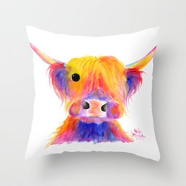 Scottish Highland Cow ' HOOTIE ' by Shirley MacArthur Throw Pillow