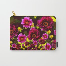 GRAPHIC MODERN DARK FUCHSIA & YELLOW FLORALS Carry-All Pouch