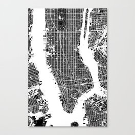 New York city map black and white Canvas Print