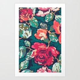 Cross roses Art Print