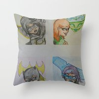dc comics Throw Pillows featuring DC: Batgirls by aka-noodle