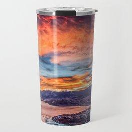 Sunset Pano // Beautiful Rocky Mountain Lake View Colorado Red Orange Sky Travel Mug