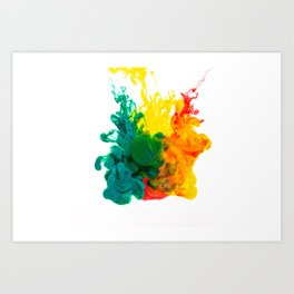 Green / Yellow / Red Ink in Water Art Print
