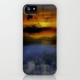 Sunset lake side painting iPhone Case