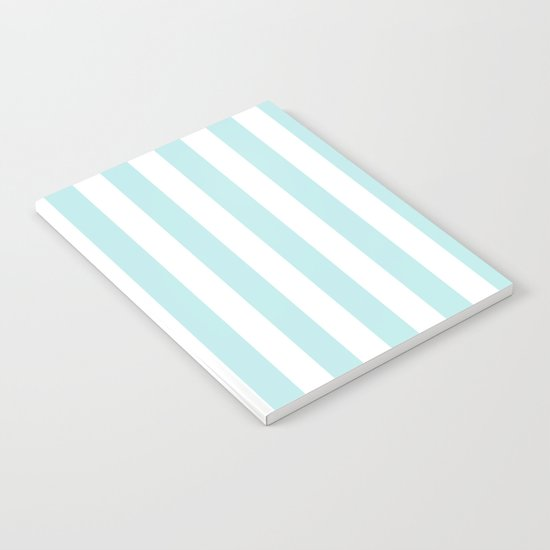 Striped- Turquoise vertikal stripes on white- beautiful pattern Notebook