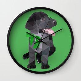 Low Polygon Black Labrador - Green Bow Wall Clock