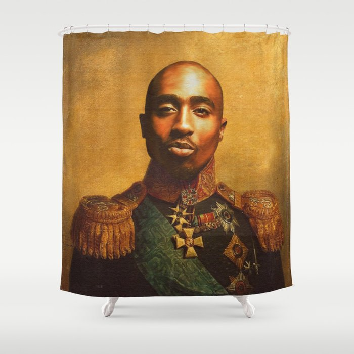 Tupac General Portrait Painting Hip Hop Fan Art Shower Curtain By