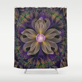 Bohemian Iris of Lavender Potpourri and Green Sage Shower Curtain